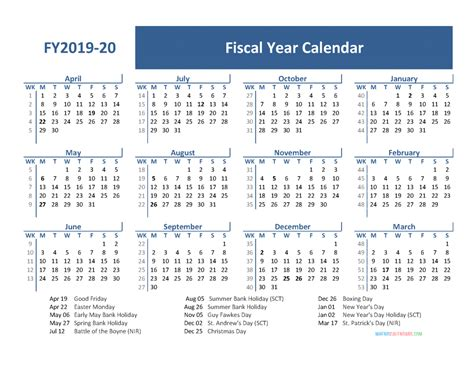 fiscal year calendar holidays april march