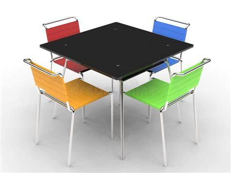chaises colorées table de salle à manger avec les chaises