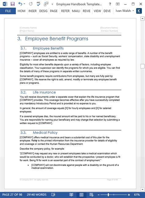 employee handbook template ms wordexcel templates
