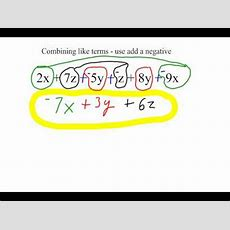Combining Like Terms  Use Add A Negative Youtube