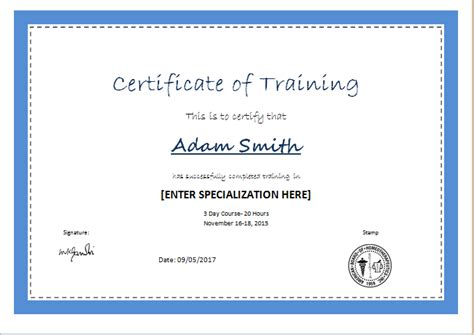 Traininb Certificate Template by Certificate Of Training Template For Ms Word Document Hub