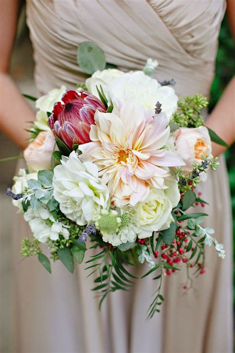 Bridesmaid Bouquet Blush Peach Ivory Green Protea
