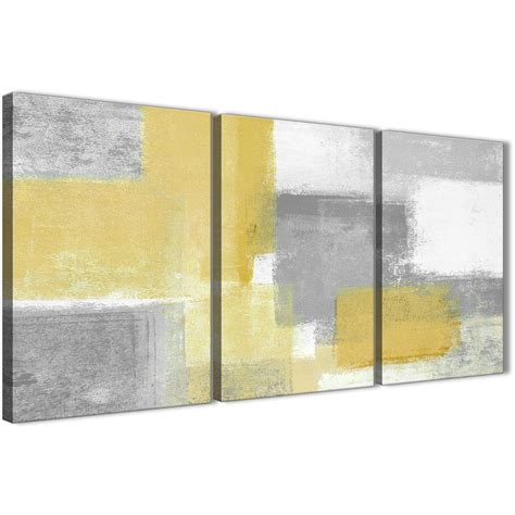 3 panel mustard yellow grey kitchen canvas wall decor abstract 3367 126cm set of prints