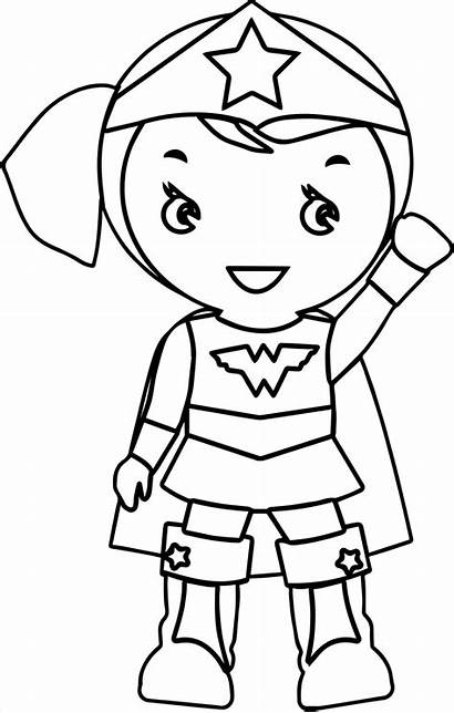 Wonder Coloring Woman Wonderwoman Cartoon Clipart Superhero