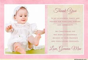 Single photo christening thank you card pink brown for Baptism thank you card template