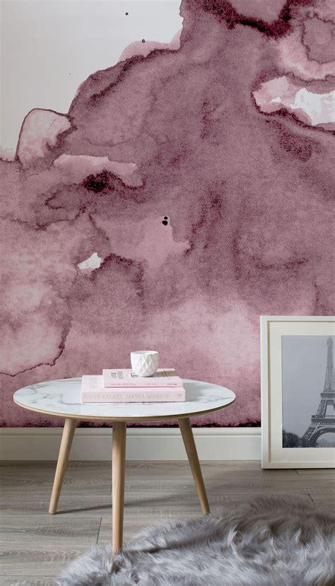 dusty pink watercolor wall mural ev ic tasarimi oda