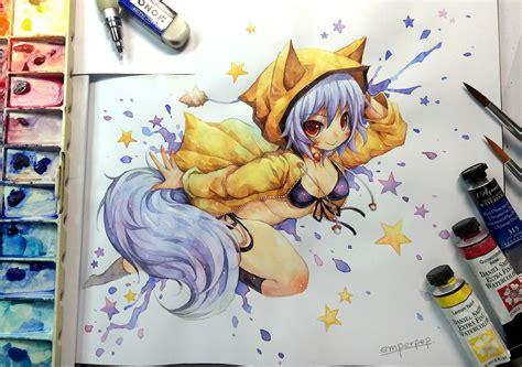 watercolor anime watercolor kitsuneyin by emperpep on deviantart