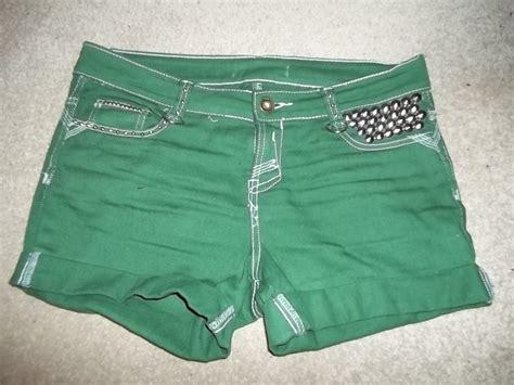 studded green shorts shorts embellishing  studding