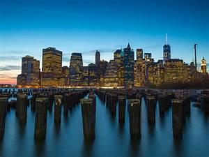 The, Port, Manhattan, New, York, City, Sunset, Dusk, Landscape, 4k