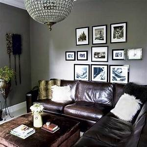 Grey walls brown leather couch home pinterest for Chocolate brown sofa and grey walls