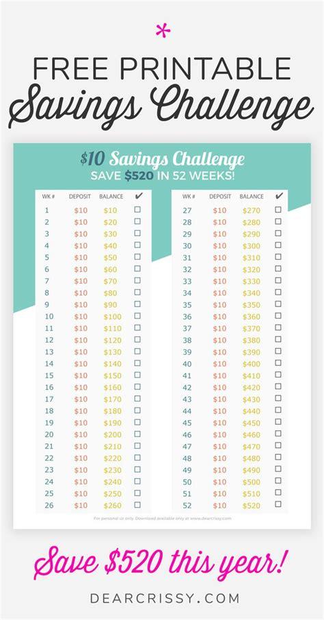 money savings challenge printable easy  money savings
