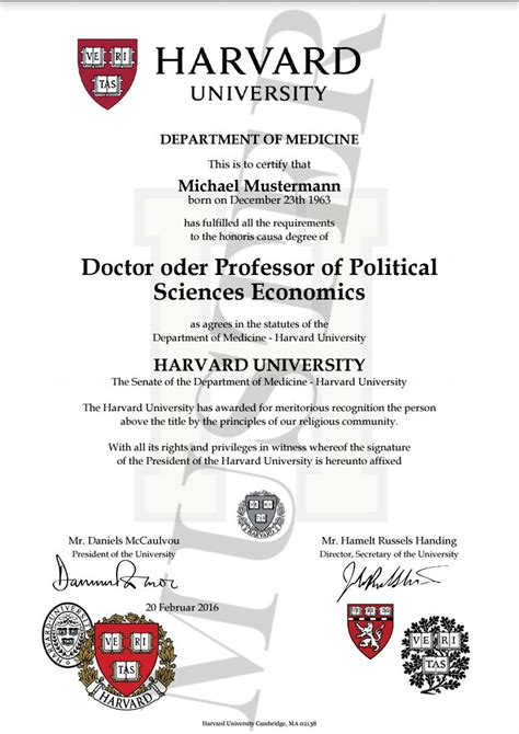 doktortitel kaufen harvard honorary degree certificate