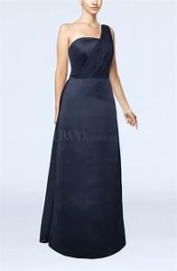 navy blue simple sheath sleeveless satin floor length With floor length dress wedding guest