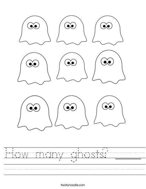 ghosts worksheet  images halloween kindergarten