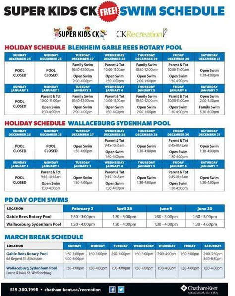 Free Swim Schedule For Chatham Kent Pools