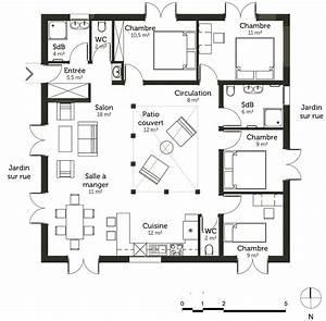 plan maison cubique 120 m2 avec 4 chambres ooreka With plan maison avec patio 1 plan de maison traditionnelle estran