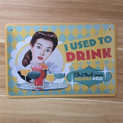 cuisine plaque drink wine food vintage tin sign retro metal