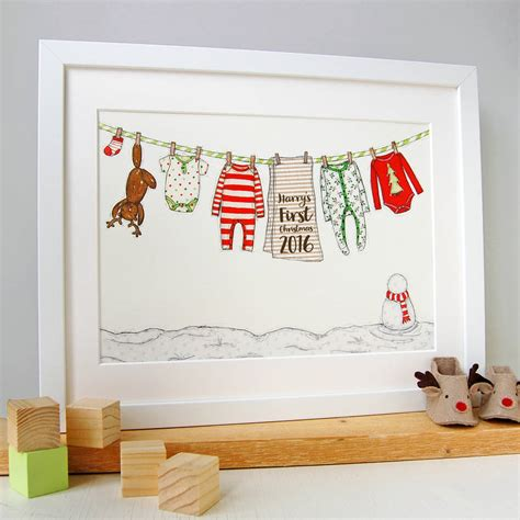 Alised Babys First Christmas Print By Clara And