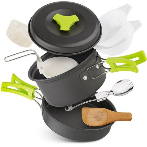 camping cooking equipment outdoor gear cookware camp backpacking kit portable mess hiking outdoors pots bowls collapsible pans lightweight 10pcs utensils