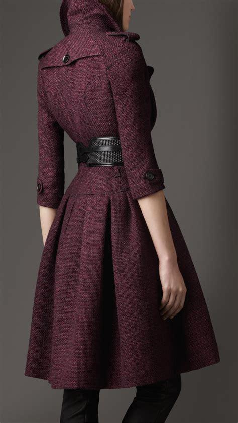 lyst burberry full skirted tweed coat  purple
