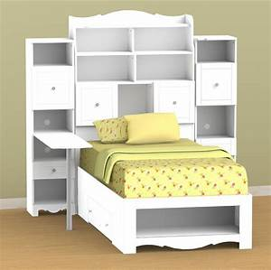 Nexera Pixel Twin Tall Bookcase Storage Bed with Desk N