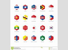 East Asia And South East Asia Flag Icons Hexagon Stock