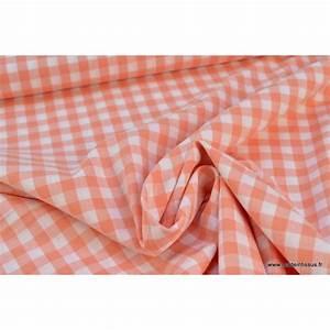 Tissu 100 Coton : popeline coton vichy grands carreaux corail vente en ligne au m tre ~ Teatrodelosmanantiales.com Idées de Décoration