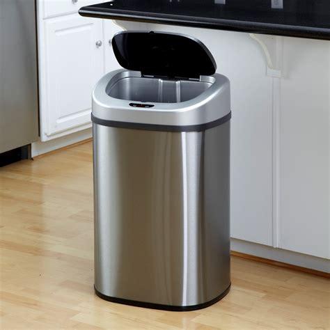 nine motion sensor slim touchless 13 gallon trash can stainless steel walmart