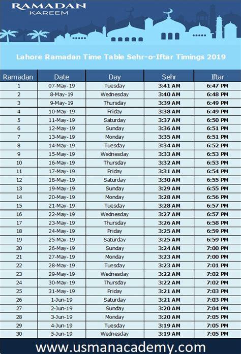 lahore ramadan timings calendar lahore ramazan seher iftar