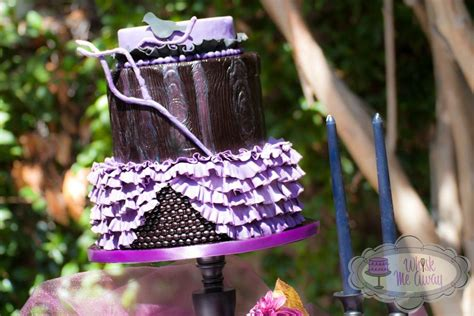 Black & Purple Gothic Wedding Cake