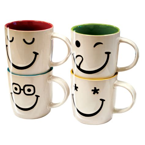 8 xFaces Smiley Ceramic Mug Set Cups Coffee Tea Stoneware 313ml 12oz Christmas