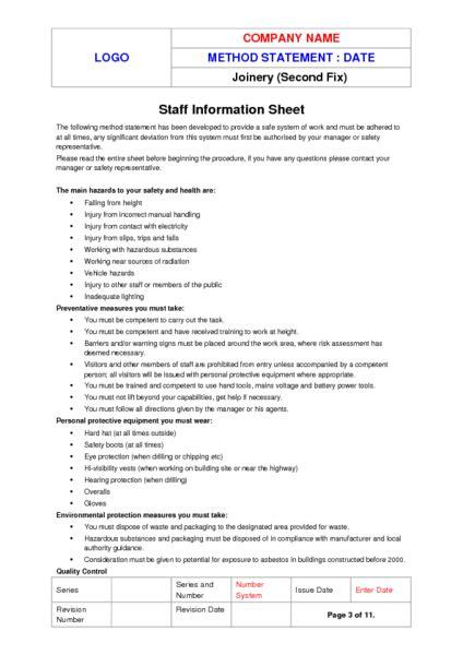 fix joinery method statement