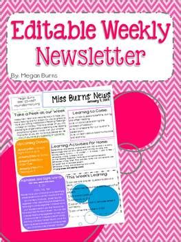 editable weekly newsletter template   burns