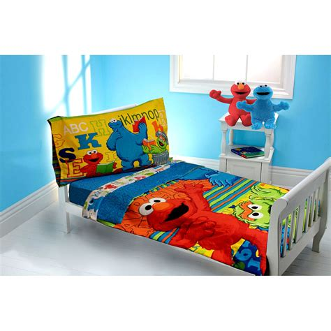 sesame street elmo abc 123 4 piece toddler bedding set
