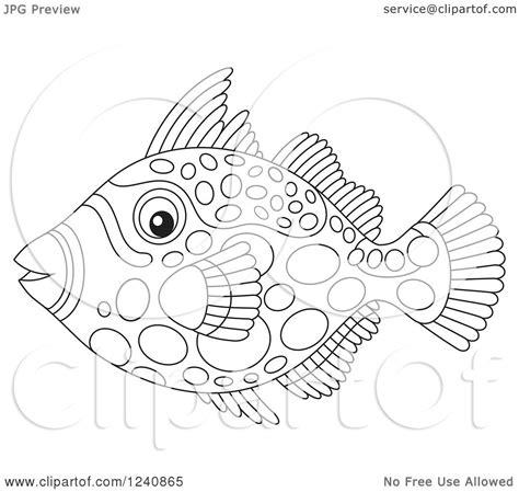 clipart   black  white clown triggerfish royalty  vector illustration  alex