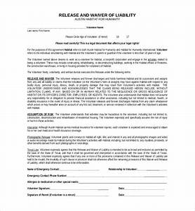 volunteer release and waiver template best free home With volunteer waiver form template