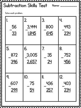common core  grade subtraction assessment regrouping