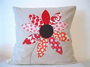 Red, Flower, Cushion, Cover, Free, Motion, Applique, Summer, Flower
