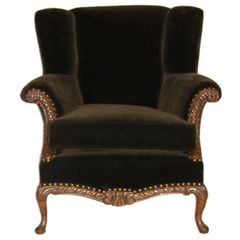 antique carved walnut brown velvet wing chair at 1stdibs