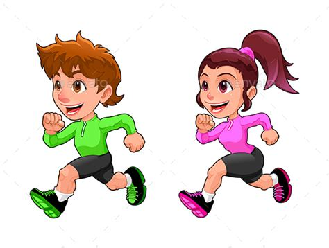 Funny Running Boy And Girl By Ddraw