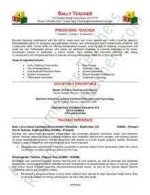 exles of teachers resume preschool resume tips and sles