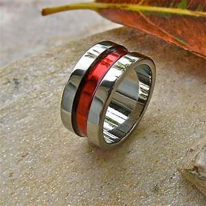Firefighter39s Thin Red Line Titanium Wedding Band