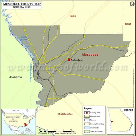 muscogee county map map  muscogee county georgia