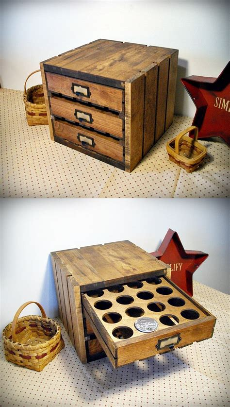 In my case, for a holt coffee maker. Rustic crate K-cup storage. Holds 48 cups …   Coffee pod storage, Diy holder, Diy coffee bar