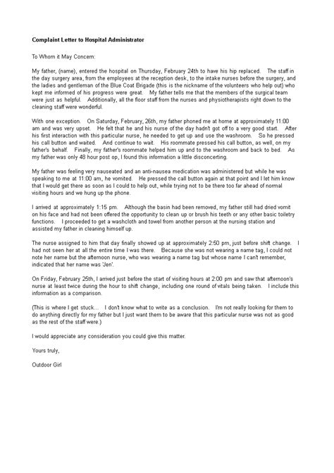 sample complaint letter  hospital administrator