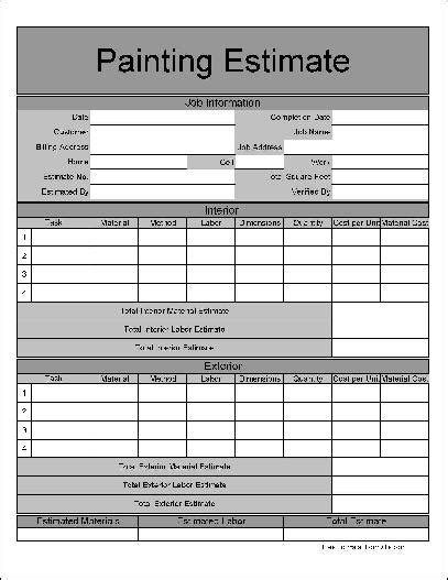 painting estimate template 9 best images of painting estimate forms printable free painting estimate forms downloads