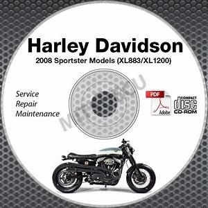 Purchase 2008 Harley Davidson Sportster Xl1200 Xl883 Models Service Manual Cd Repair Shop
