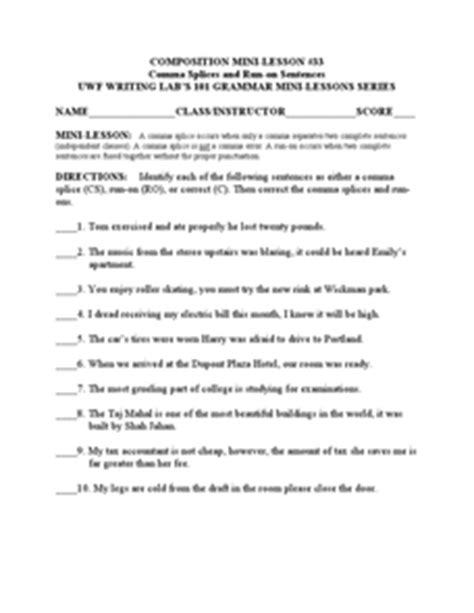 Comma Splices And Runon Sentences Worksheet For 3rd  6th Grade  Lesson Planet