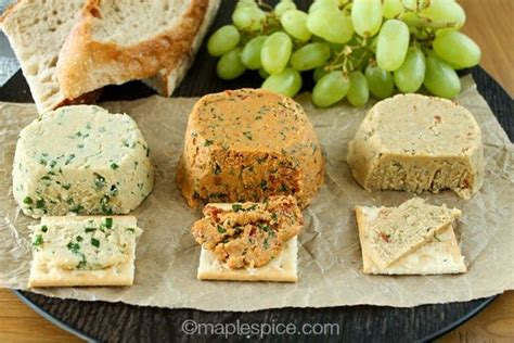 almond cheese a trio of vegan almond cheese chive sun dried tomato basil chili rosemary soy and gluten