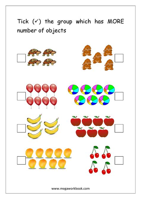 More Less Or Equal Math Worksheets  Greater Than And Less Worksheets Kinder Math Pinterest Free